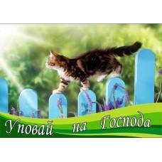 Магнит животные: Уповай на Господа (котенок идущий по забору)