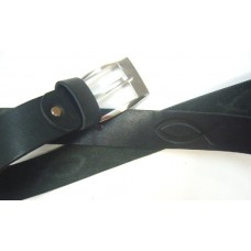 Ремень с РЫБКОЙ (черный) - натуральная кожа (ширина 35 мм)
