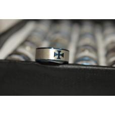 Кольцо размер 22 «Крест декоративный» серебристое кольцо, синий кант и синий крест