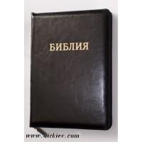 Библия  077zti черная (кожа,замок, золотой торец, метки)