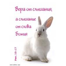 Христианский блокнот: Вера от слышания, а слышание от слова Божия Рим.10:17(белый кролик) (90 лист., в клеточку)