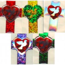 Голографическая объёмная апликация крестик с голубем и сердечком( 2 см на 3 см)